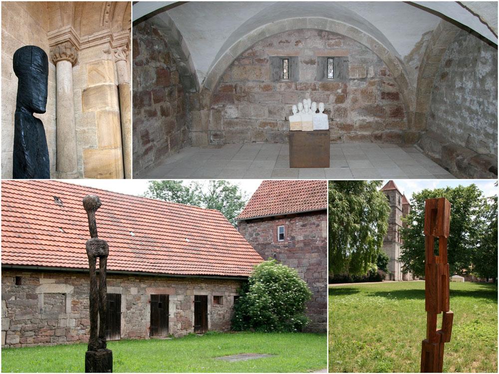 Die Foto-Collage zeigt Aufnahmen des Künstlersommers 2008 im Museum